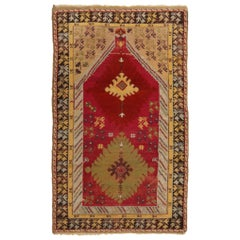 Antique Kirsehir Traditional in Red and Beige Geometric Pattern