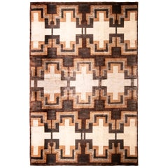 Rug & Kilim's Art Deco Style Rug, Beige Brown Midcentury Geometric Pattern