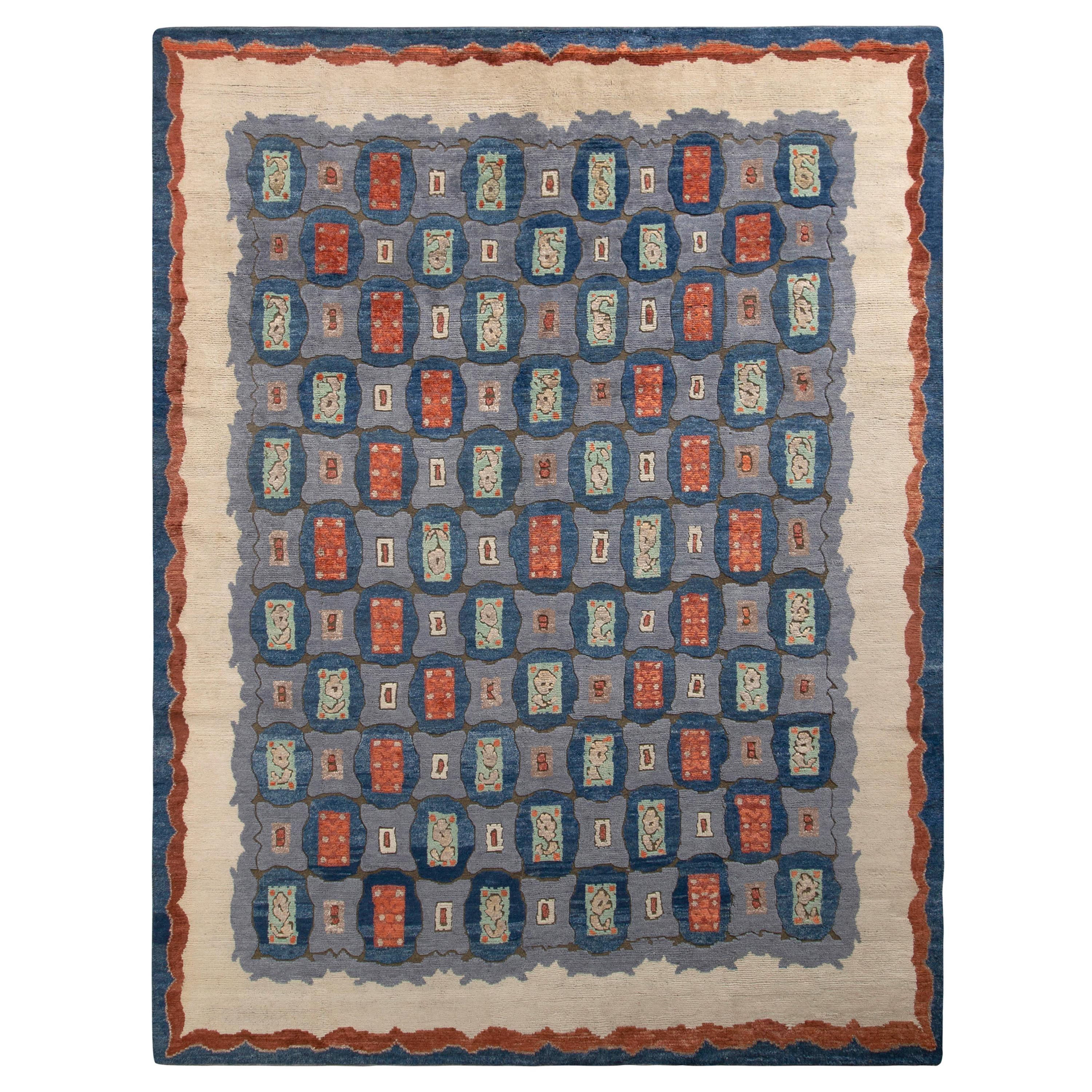Rug & Kilim's Art Deco Style Rug in Blue All Over Geometric Pattern