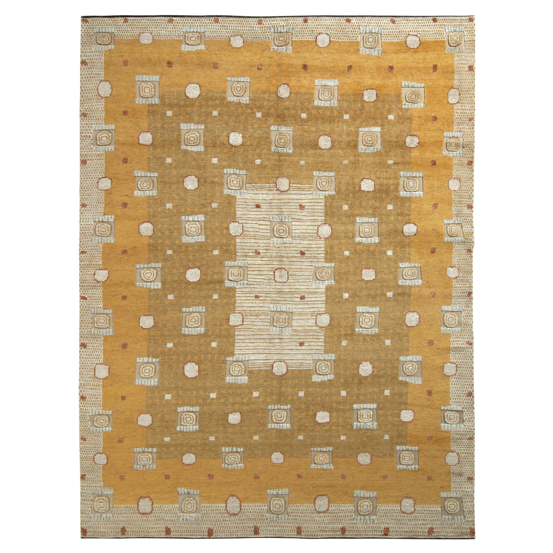 Rug & Kilim's Art Deco Style Rug in Gold and Beige-Brown Geometric Pattern