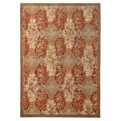 Rug & Kilim's Aubusson Style Flat-Weave Beige-Brown Red Floral Pattern
