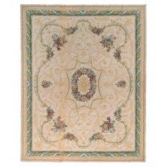Rug & Kilim's Aubusson Style Flat Weave Rug in Beige, Green Medallion Pattern
