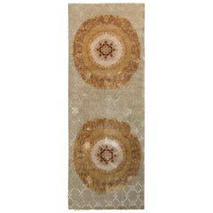 Rug & Kilim's Aubusson Style Rug in Beige-Brown and Green Medallion Pattern