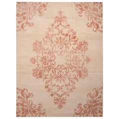 Rug & Kilim's Beige and Pink Medallion-Style Wool Rug from the Homage Collection