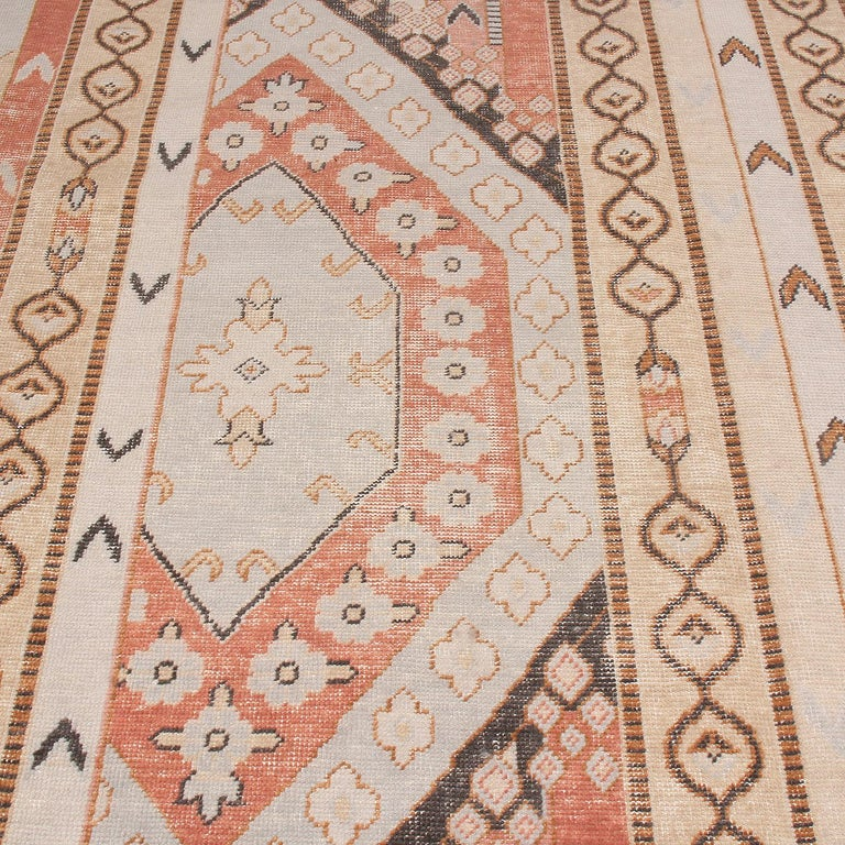 Modern Rug & Kilim's Beige Blue and Russet Red Wool Rug from the Homage Collection