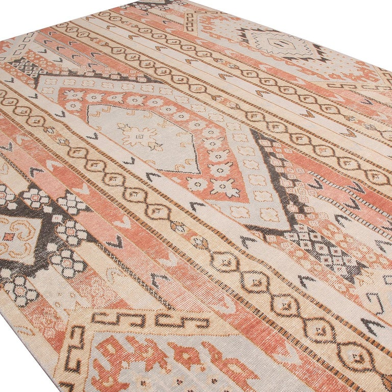 Indian Rug & Kilim's Beige Blue and Russet Red Wool Rug from the Homage Collection