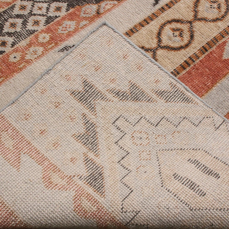 Hand-Knotted Rug & Kilim's Beige Blue and Russet Red Wool Rug from the Homage Collection