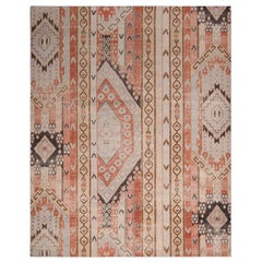 Rug & Kilim's Beige Blue and Russet Red Wool Rug from the Homage Collection