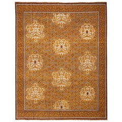 Traditional Khotan Style Geometric Beige Brown and Blue Wool Rug by Rug & Kilim