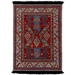 Rug & Kilim's Burano Kazak Style Geometric Beige Red and Blue Wool Custom Rug