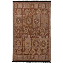 Rug & Kilim's Burano Kuba Style Geometric Beige Brown and Gold Wool Custom Rug
