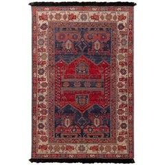 Rug & Kilim's Burano Persian Hamadan Style Beige and Red Wool Rug