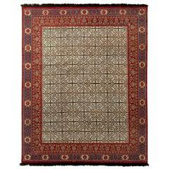 Rug & Kilim's Burano Persian Style Geometric Green and Red Wool Custom Rug