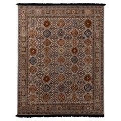 Rug & Kilim's Burano Qashqai Style Geometric Beige Brown Wool Custom Rug