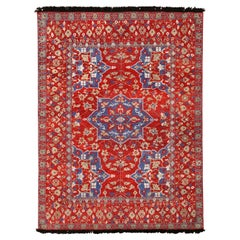Rug & Kilim's Burano Red and Blue Wool Floral Rug