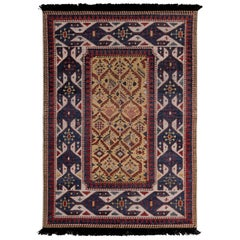 Rug & Kilim's Burano Seychour Style Beige-Brown Blue and Red Wool Custom Rug