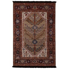 Rug & Kilim's Burano Style Beige Red and Blue Custom Persian Hamadan Style Rug