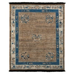 Rug & Kilim's Chinese Art Deco Style Rug in Beige-Brown and Blue Medallion Style