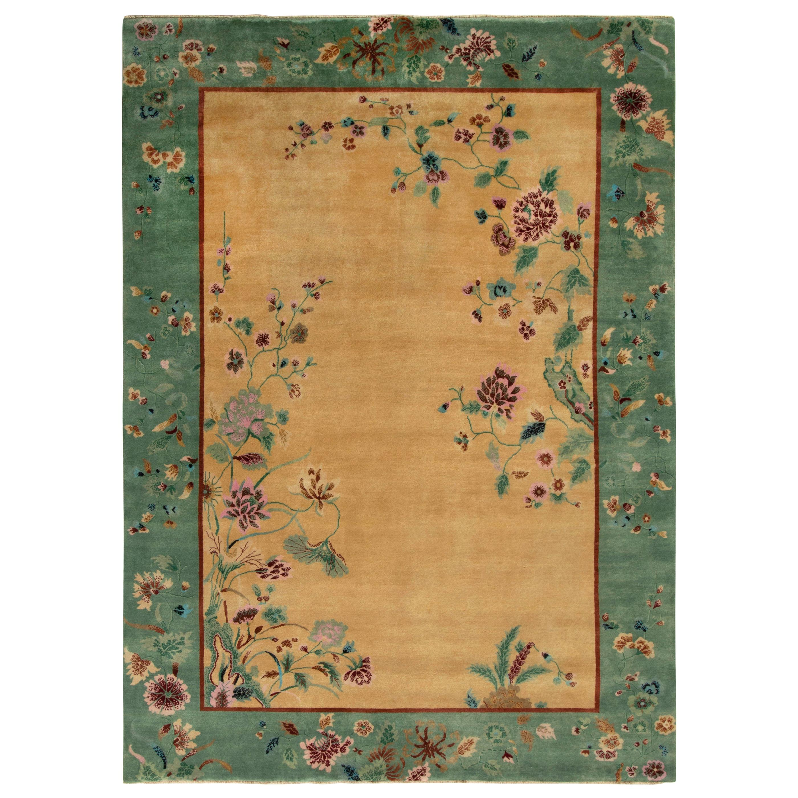 Rug & Kilim's Chinese Art Deco Style Rug in Green and Beige-Gold Floral Pattern