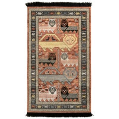 Rug & Kilim's Classic Style Pictorial Rug in Red-Pink Geometric Pattern