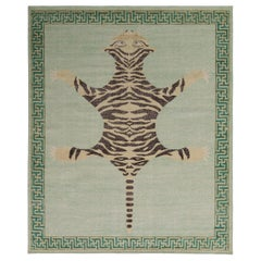 Rug & Kilim's Classic Style Pictorial Tiger Rug in Green Distressed Style
