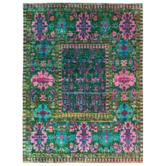 Rug & Kilim's Classic Style Rug in Green and Pink All Over Floral Pattern