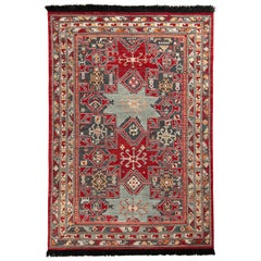 Rug & Kilim's Classic Style Rug in Red and Blue Geometric Pattern