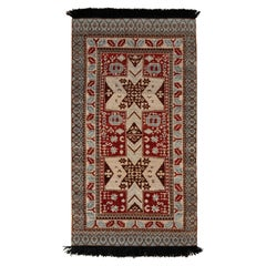 Rug & Kilim's Classic Style Runner in Red and Blue Medallion Geometric Pattern