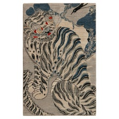 Rug & Kilim's Classic Style Tiger Rug in Gray and Black Pictorial Pattern