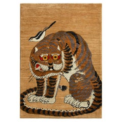 Rug & Kilim's Classic Style Tiger Rug in Orange and Beige-Brown Pictorial