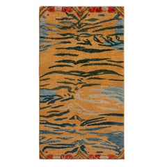 Rug & Kilim's Classic Style Tiger Rug in Orange and Blue Abstract Stripe Pattern