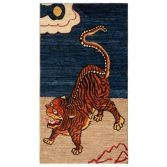 Rug & Kilim's Classic Style Tiger Rug in Orange and Blue Pictorial Pattern