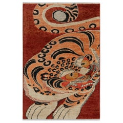 Rug & Kilim's Classic Style Tiger Rug in Red and Orange Pictorial Pattern