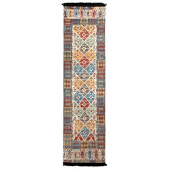 Rug & Kilim's Classic Turkish Style Runner in Gold and Blue Geometric Pattern