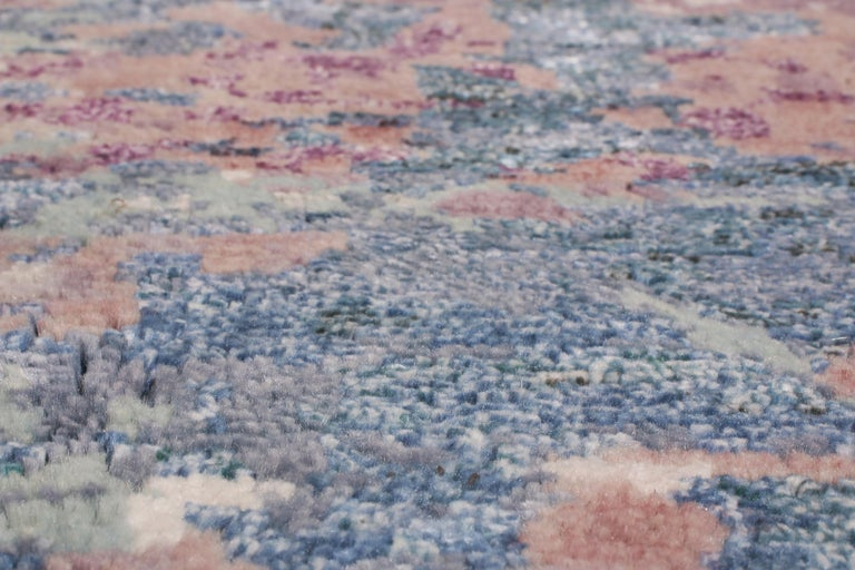 Rug & Kilim's Contemporary Blue and Purple Wool and Silk Rug In New Condition In Long Island City, NY