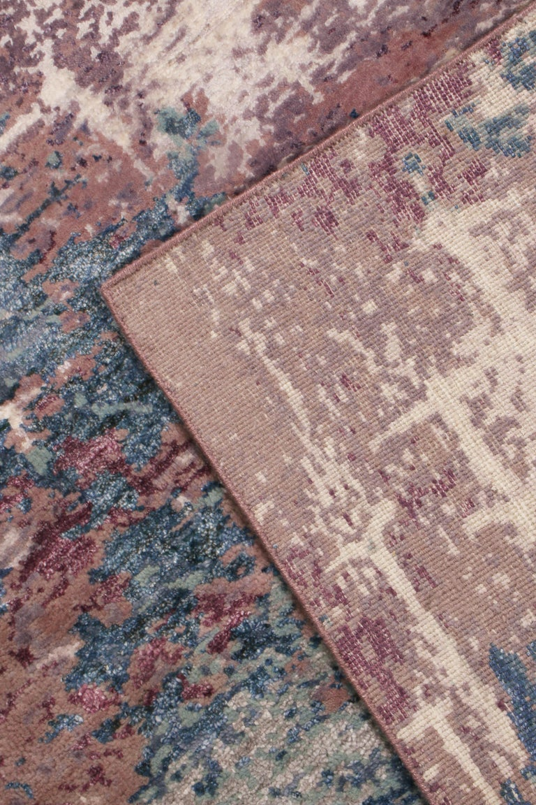 Rug & Kilim's Contemporary Blue and Purple Wool and Silk Rug 1