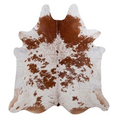 Rug & Kilim's Contemporary Cowhide Rug in White and Beige-Brown