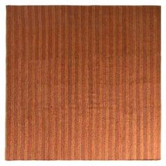 Rug & Kilim's Contemporary Flat-Weave Striped Orange Brown Square