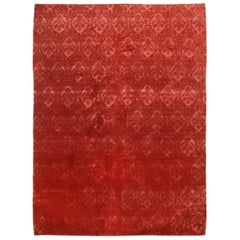 Rug & Kilim's Contemporary Medici Geometric Red Wool and Silk Rug