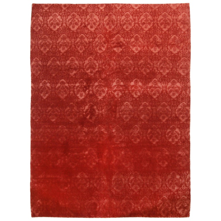 Rug & Kilim's Contemporary Medici Geometric Red Wool and Silk Rug For Sale