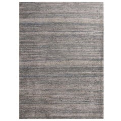 Rug & Kilim's Contemporary Metallic Silver and Blue Silk Texture of Color Rug