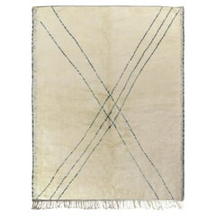 Rug & Kilim's Contemporary Moroccan Rug in Beige-White, Blue Geometric Pattern
