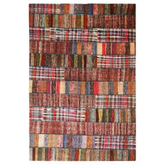 Rug & Kilim's Contemporary Multi-Color Patchwork Wool Rug Striped Pattern