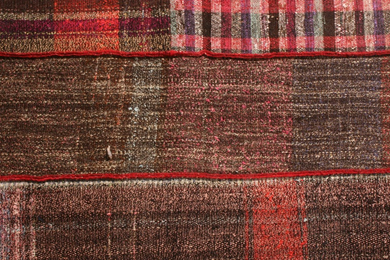 Hand-Knotted Rug & Kilim's Contemporary Red and Multi-Color Wool Kilim Rug For Sale