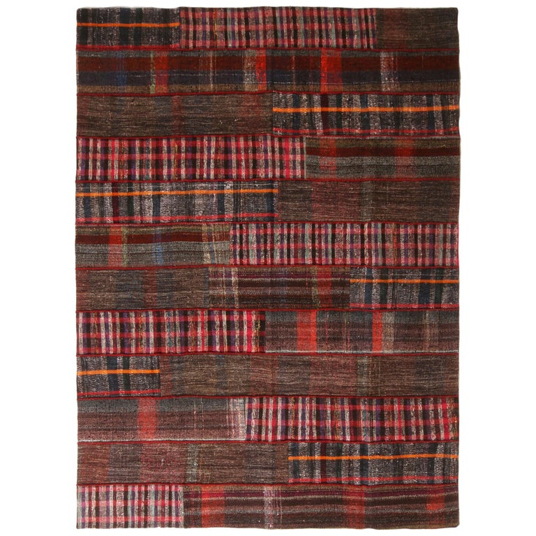Rug & Kilim's Contemporary Red and Multi-Color Wool Kilim Rug For Sale