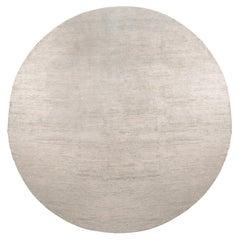 Rug & Kilim's Texture of Color Custom Circle Rug Design in Solid Grey