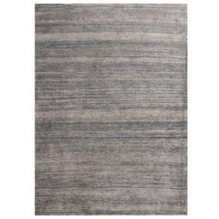 Rug & Kilim's Contemporary Silver and Blue Silk Texture of Color Rug