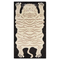 Rug & Kilim's Contemporary Tiger Rug in White, Black, Beige Pictorial Pattern