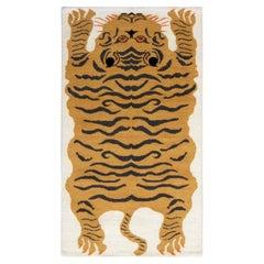 Rug & Kilim's Contemporary Tiger Rug in White, Black, Orange Pictorial Pattern