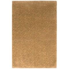 Rug & Kilim's Custom Beige-Brown Geometric Floral Silk Rug